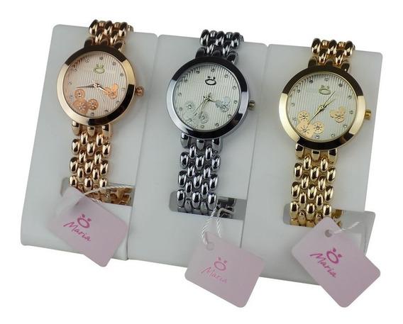 Kit 3 Relógios Feminino Original Dourado Rosa Rosê Minnie