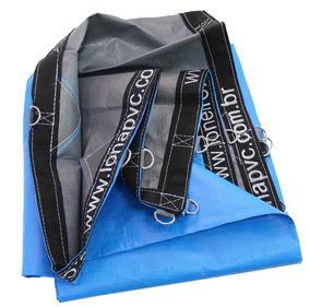 Lona 500 Micra Toldo Tenda Azul Cinza 6x6 + Argola Loneiro