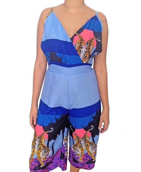 Macaquinho Feminino Pantacourt Azul Estampado