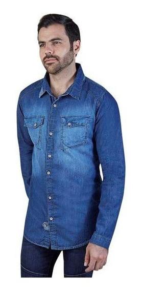 Camisa Caballero Manga Larga Azul Mezclilla 015328