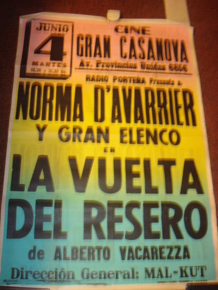 Afiche Callejero De Papel Gran Cine Casanova