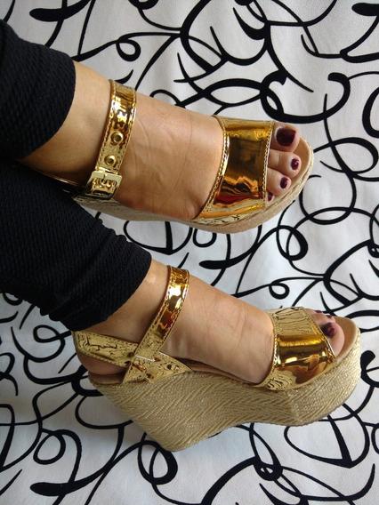 Sandalia De Plataforma Dorada Espejo Alta Mujer Envío Gratis