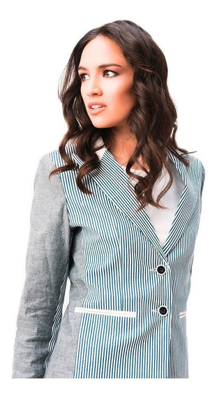 Blazer Mujer Jean Rayado Azul Blanco Cuero Saco Giacca