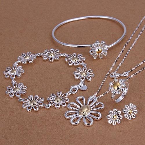 Conjunto De Plata Forma Flor Con Sello 925