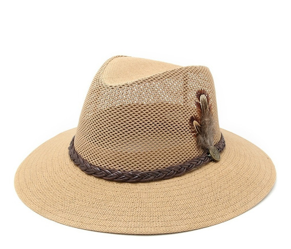 Sombrero Australiano Hombre Pluma Pesca Playa Verano