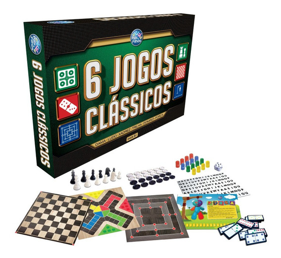 Jogo Tabuleiro 6 Em 1 Xadrez Dama Ludo Trilha Domino Forca