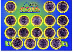 Coleção Completa Olimpíadas: 17 Moedas C/ Bandeira E Cartela
