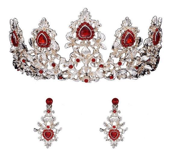 Coroa Tiara Festa Vermelha+brincos 15 Anos Noiva Conjuntos