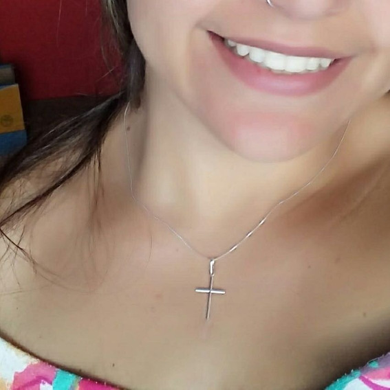 Corrente De Prata Crucifixo Palito Pequena