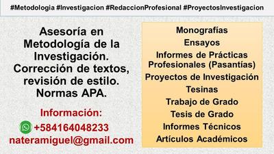 Asesoría En Metodología De La Investigación Y Redacción