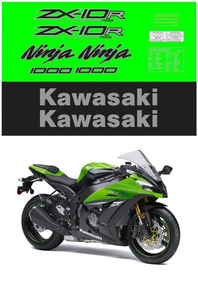 Adesivos Moto Kawasaki Ninja Zx-10r 2014 Abs Verde Ccr15995