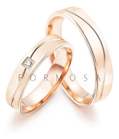Alianças Em Prata Banhada A Ouro Rosé 1 Pedra Friso Em Onda