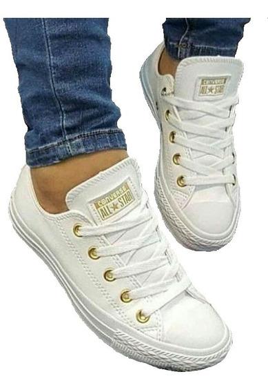 Tennis Zapatillas Converse Mujer Blancas Cuero