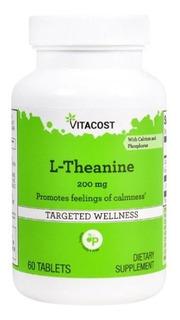 L Teanina 200mg 60 Tabletes Vitacost Importado Cod. 153