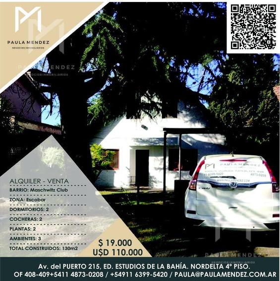 Casa - Venta - Alquiler - 3 Ambientes - Maschwitz Club - Escobar