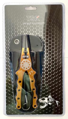 Imagen 1 de 6 de Pinza Pesca De Aluminio Tsk Abre Anillas + Alicate + Cable