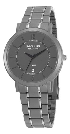 Relógio De Pulso Seculus Unissex Titânio 23682g0svnt2 Cinza