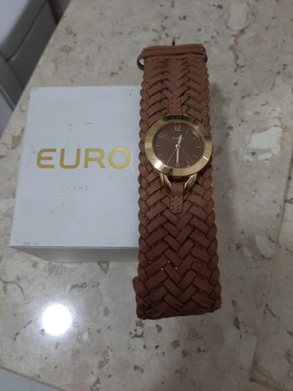 Relógio Feminino Euro Pulseira Couro Marron