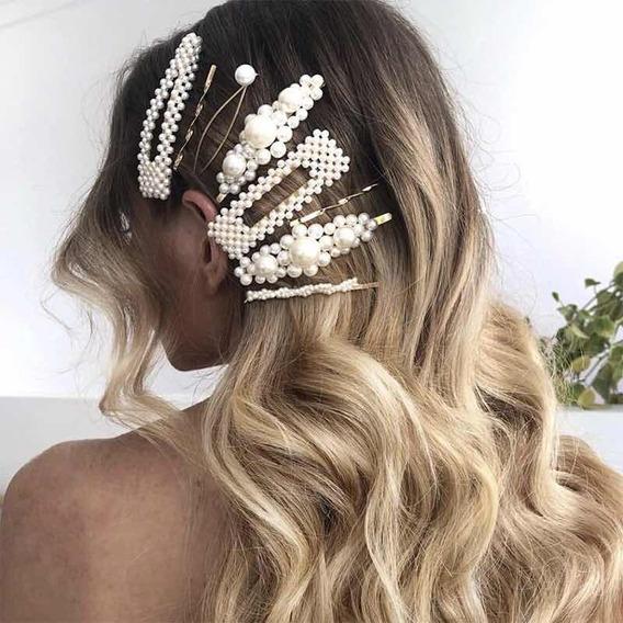 Broche Para Cabello Perlas Cosidas Hair Clip Joyería