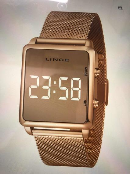 Promoção 48hs - Relógio Lince De Led Espelhado Rose