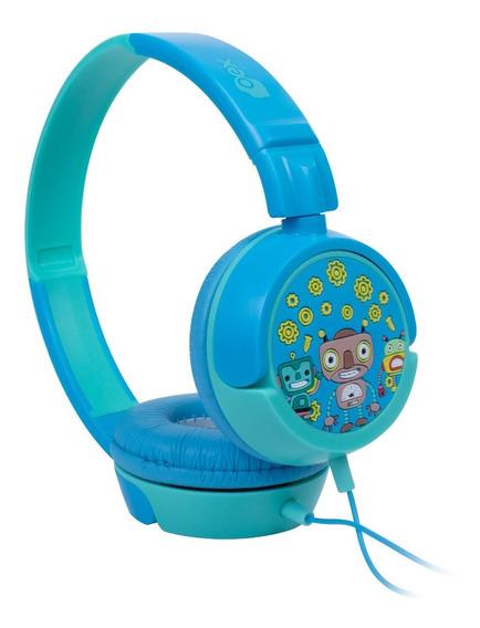 Headphone Fone Kids Criança Robos Azul Hp-305 Oex