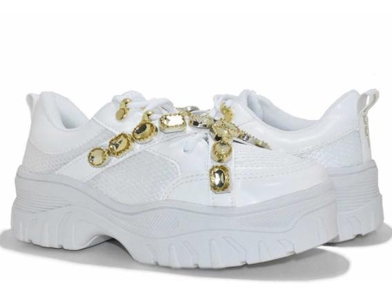 Tênis Feminino Sneaker Flashtrek Pedraria Branco Dourado