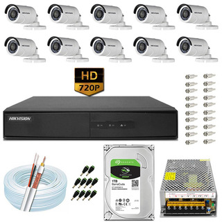 Kit Cftv 10 Câmeras 20m Hd 720p Dvr Hikvision Ds-7216 16 Ch