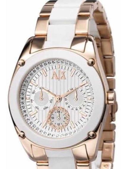 Relógio Original Armani Exchange Feminino Rose E Branco