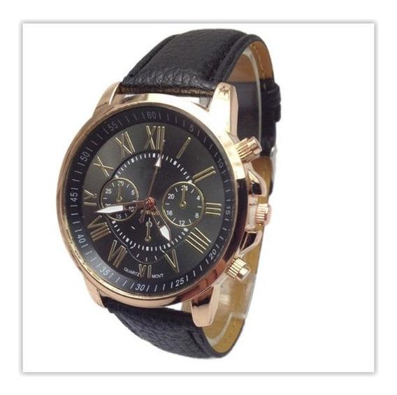 Relógio Feminino Em Couro Geneva Luxo Quartz Barato