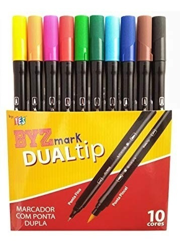 Caneta Dualtip Yes Brush Ponta Dupla Kit C10 Canetas