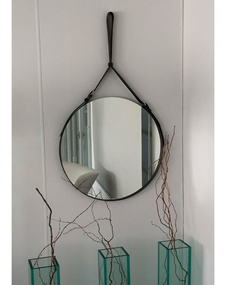 Espejo Baño Redondo Belt 47cm Con Cuero Flex Reflejar