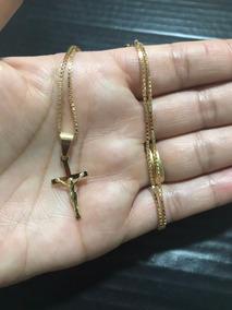 Corrente Colar Veneziana Folheado Ouro 18k C/ Ping Crucifixo