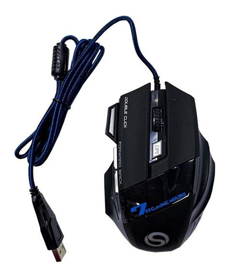 Mouse Shinka X7 Black Com Led Ultra Sensível Com Fio Usb
