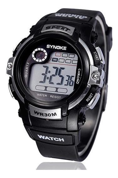 Relógio Digital De Pulso Infantil Prata Synoke + Brinde
