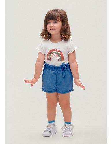 Conjunto Manga Curta Menina Algodão Shorts Jeans Hering Kids