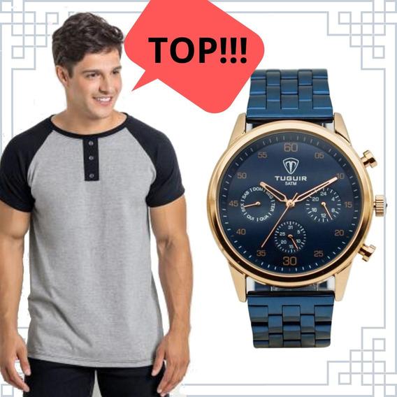 Relógio Original + Camiseta Cinza E Preta Com Botões Tam(m)