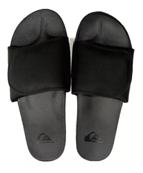Ojotas Quiksilver Shoreline Negras Con Velcro Para Hombre