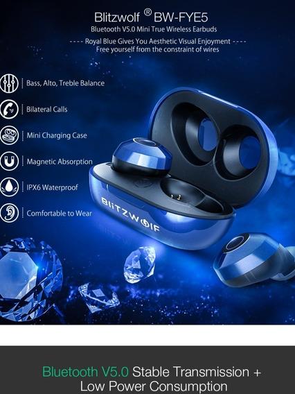 Fone Bluetooth Blitzwolf Bw-fye5 Azul