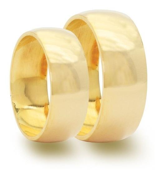 Par De Alianças 8mm Moeda Antiga Casamento Noivado Cor Ouro