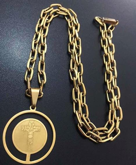 Corrente+pulseira E Pingente Banhado A Ouro 18k
