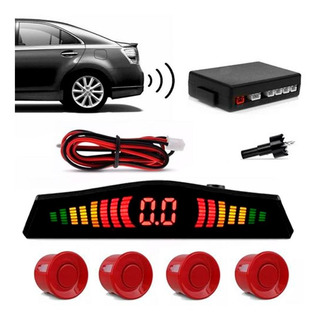 Sensor De Estacionamento Ré Visor Em Led 4 Pontos Vermelho