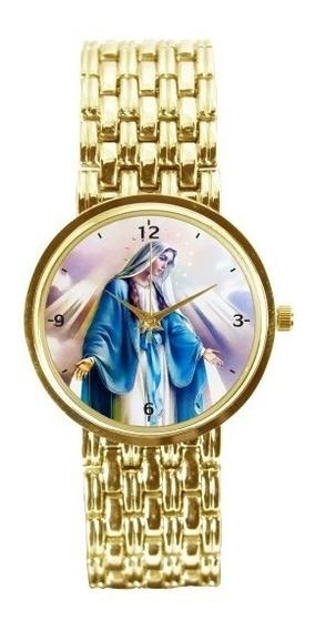 Nossa Senhora Das Graças Relógio Feminino Dourado 3330