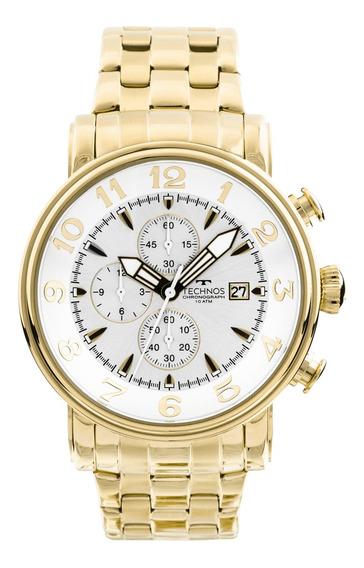 Relógio Technos Masculino Ref: Os10cr/4k Big Case Dourado