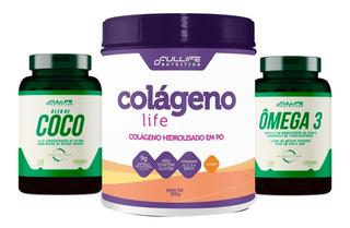 Colageno Em Pó + Omega 3 1000mg + Oleo De Coco 1000mg