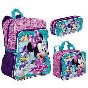 Kit Mochila Minnie Mouse 19m Plus + Lancheira + Estojo