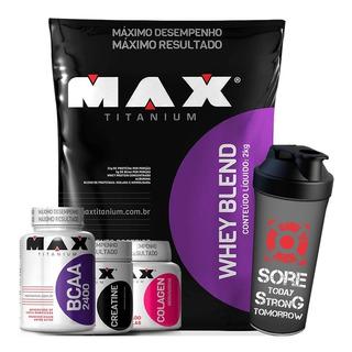Whey Blend 2kg + Bcaa + Colágeno + Creatina - Max Titanium