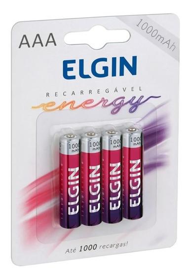 Kit 8 Pilha Bateria Recarregável Elgin Aaa 1000mah 1,2v
