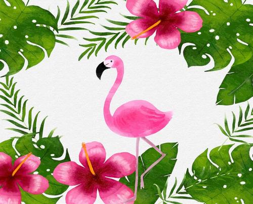 Imagem 1 de 1 de Painel De Festa Tecido Flamingo 1,20 X 1,70m - Md 2