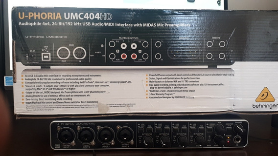 Interface De Audio Placa Umc404hd Behringer 4 Canais Hd
