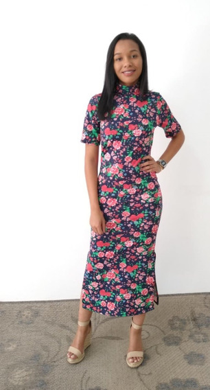 Vestido Tubinho Midi Manga Moda Evangélica Floral Feminino*